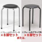 パイプ丸イス 8脚セット【特価】 送料無料(北海道・沖縄・離島を除く)サイズはよくご確認くださいませ♪ パイプ丸椅子 パイプ椅子 FB-01BK