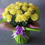 母の日 カーネーション(黄) 高35cm×巾26cm 陶器鉢入 ラッピング付,光触媒、造花