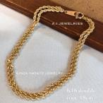 K18 18金 ダブル ロープ ブレスレット シンプル メンズ レディース 18cm bracelet