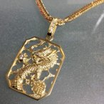 K18 ダイヤモンド ドラゴン スクエア ペンダント