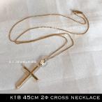 K18 18金 45cm シンプル クロス ネックレス チェーン