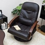 360度回転式 リクライニング高座椅子 収納付 高齢者向け椅子 無段階リクライニングチェア 簡単レバー式
