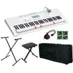 CASIO LK-228(X型スタンド/KBS-S+折り畳みイス/AKB100+ソフトケース/KBC61M+ヘッドホン+鍵盤みがっき2袋付) 光ナビゲーションキーボード/送料無料