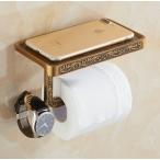 エレガント トイレットペーパー ホルダー アンティーク ブロンズ おしゃれ ペーパー ホルダー 棚 トイレ 収納 インテリア 壁付け 個性的