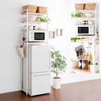 キッチンラック キッチン 収納 冷蔵庫ラック レンジラック レンジ台 スリム 北欧 おしゃれ シンプル ナチュラル 収納棚 冷蔵庫上ラック ホワイト 白 冷蔵庫上