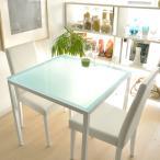 ダイニングテーブルセット 3点 2人掛け ガラス 白 おしゃれ 北欧 モダン ダイニングセット 正方形 ホワイト ガラスダイニングテーブル レザーダイニングチェア