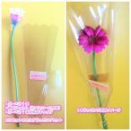 【卒業式・結婚式・イベントなどのプチギフトに】ガーベラの花1本をセルフラッピング 保水キャップ付き