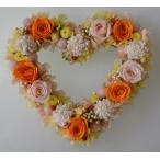 ショッピングリース オレンジの濃淡のバラで、プリザーブドフラワーのハートリース
