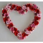 ショッピング ハートリース プリザーブドフラワー 赤いバラにピンクのバラや小花がいっぱい