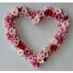 ショッピング 赤いバラとピンクのバラをいっぱい使ったプリザーブドフラワーのハートリース