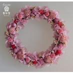 ショッピングリース ピンクのシルバーデージー、可愛い色合いのドライフラワーミニリース