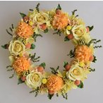 ショッピング プリザーブドフラワーリース 黄色のバラにオレンジ系のお花 明るい雰囲気