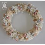 ショッピングリース プリザーブドフラワーリース、白いバラ白いソーラーフラワー、ピンクと水色の小花で清楚な雰囲気