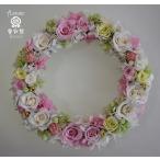ショッピングリース 白・ピンク・ライムグリーン、バラやアジサイをたっぷり使ったプリザーブドフラワーリース