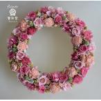 ショッピング 白とピンクのバラ、大人ピンクのプリザーブドフラワーリース