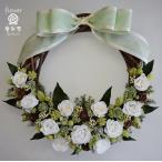 リボンに白いお花のドライフラワーリース
