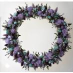 紫と水色、涼しげな色合いのドライフラワーリース