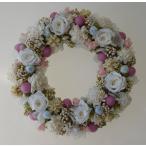 ショッピングリース 母の日ギフト 白いバラをメインに、白・ピンク・水色のお花のプリザーブドフラワーリース
