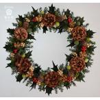 ショッピングリース クリスマスリース、ヒイラギの葉、スギの葉、木の実や赤い実、葉はプリザーブド加工