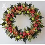 ショッピングクリスマスリース クリスマスリース、赤いリンゴとヒイラギの葉、葉はプリザーブド加工