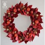 ショッピングクリスマスリース クリスマスリース、赤い葉っぱとリンゴに木の実