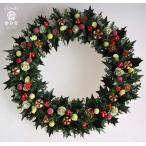 ショッピングクリスマスリース クリスマスリース、プリザーブド加工のヒイラギの葉に赤い実