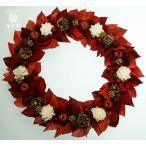 クリスマスリース 赤い葉と赤いリンゴ 白いお花 ギフト プレゼント 誕生日 開店祝 引越し祝