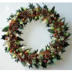 ショッピングクリスマスリース クリスマスリース、ヒイラギの葉とユーカリの葉、明るい色の木の実やお花、葉はプリザーブド加工
