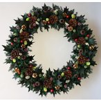 ショッピングクリスマスリース クリスマスリース、オーソドックスなヒイラギの葉と赤い実、葉はプリザーブド加工