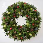 ショッピングクリスマスリース クリスマスリース、ヒイラギの葉と赤い実、葉はプリザーブド加工、サイズ26cm