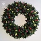 ショッピングクリスマスリース クリスマスリース、ヒイラギの葉と赤い実、葉はプリザーブド加工、サイズ35cm