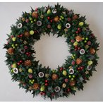 ショッピングクリスマスリース クリスマスリース、ヒイラギの葉と赤い実、葉はプリザーブド加工、サイズ40cm