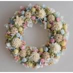 ショッピング 白、ピンク、水色、清楚な雰囲気のドライフラワーリース