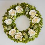 ショッピングアジサイ 白いバラ、緑のアジサイ、プリザーブドフラワーリース
