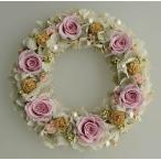 ショッピングアジサイ プリザーブドフラワーリース、ピンクのバラに白いアジサイ、アンティークなイメージ