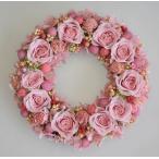 プリザーブドフラワーリース ピンクのバラがいっぱい かわいらしいピンクのお花