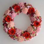 プリザーブドフラワーリース、赤いバラにピンクのお花