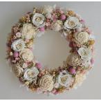 ショッピング プリザーブドフラワーリース、白いバラをメインに挿し色のピンクが可愛らしい