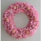 ショッピングリース ピンクのアジサイのプリザーブドフラワーリース
