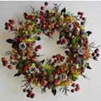 ショッピングリース 木の実がいっぱいのドライフラワーリース