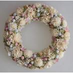 ショッピングリース 白いお花に淡いピンクとブルーのドライフラワーリース