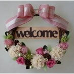 ショッピングリース ピンクのバラ、シックなウェルカムリース、プリザーブドフラワー