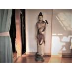 飾り栄えします 木彫彩色 観音菩薩立像 等身大 仏教美術 仏像 佛 仏 骨董 古美術 美術工芸 インテリア オブジェ 寄贈品に
