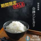 BG無洗米 コシヒカリ お米 30kg (5kg×6袋) 精白米 福島県産 令和元年産 送料無料