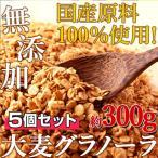 大麦グラノーラ300g 5個セット 豊富な食物繊維 無添加 国産原料100% 朝食 国産 無添加 送料無料 送料無 おやつ お菓子 栄養 健康 ぐらのーら 美味しい 大盛り