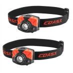 【COAST】LED ヘッドランプ 2個セット LED ヘッドライト(単4電池×6本付) 405ルーメン 3段階切替可 白色/赤色/釣り/フィッシング/懐中電灯/LED/キャンプ/アウ