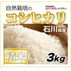 【精米3kg】自然栽培のコシヒカリ 石川県 もっともポピュラーなお米の品種