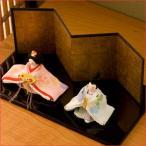 ひな人形 雛人形 コンパクト ちりめん 小さい お雛様 咲耶雛 台座黒 送料無料