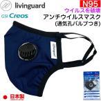 日本製 N95規格フィルター 立体型 布製マスク リビングガード アンチウイルスマスク 通気孔プラス GSIクレオス 大人用