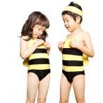 子供水着送料無料 男の子 女の子 アニマル柄 帽子付き 連体式水着 子ども 男児 幼児 キッズ水着 ジュニア ボーイ ハチ 蜂 ミツバチ キッズ 男女通用 ネコポス便